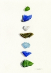 Beach  Art Paintings - Sea Glass Watercolor by Sheryl Heatherly Hawkins