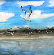 Sea Birds Pastels - Sea Gulls by Nancy Rucker