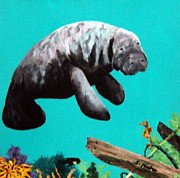 Underwater Paintings - Sea Horse and Manatee by Susan Kubes