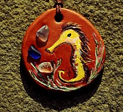 Original Design Jewelry - Sea Horse Sea Glass and Clay Pendant by Evening Star Sea Glass