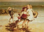 Children Playing Paintings - Sea Horses by Frederick Morgan
