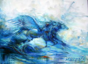 Fantasy Creatures Paintings - Sea Horses by Heather Calderon