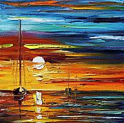 Yacht Paintings - Sea Image Of Sunset by Leonid Afremov