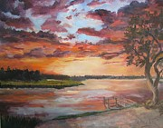 Brilliant Paintings - Sea Island Sunset by Albert Fendig