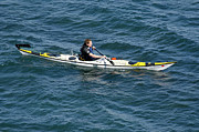 Kayak Posters - SEA KAYAK man kayaking off the coast of Dorset England UK Poster by Andy Smy