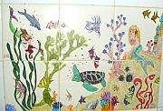 Extinct And Mythical Ceramics - Sea Life Fantasy Mural by Dy Witt