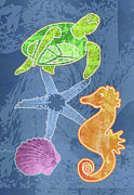 Seahorse Metal Prints - Sea Life Metal Print by Mary Ogle