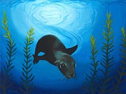 Marine Life Pastels Prints - Sea Lion Print by Jackie Novak