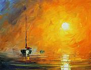 Yacht Painting Originals - Sea New by Leonid Afremov