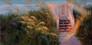 Salt Air Paintings - Sea Oats of August by Sonia Kane