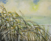 Oceon Posters - Sea Oats Sailboats Poster by Michele Hollister - for Nancy Asbell