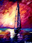Sunset Seascape Mixed Media Posters - Sea of colors Poster by Mike Grubb