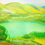Vineyards Mixed Media - Sea of Grass Waves of Mustard by Jill Targer