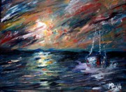Sunset Seascape Mixed Media Prints - Sea of storms Print by Mike Grubb