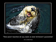 Laughing Posters - Sea otter motivational  Poster by Fabrizio Troiani