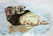 Otters Originals - Sea Otters I. by Paula Steffensen