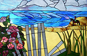 Fences Glass Art Prints - Sea Roses - Rosa Rugosa Print by Jane Croteau