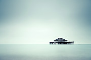 Iron  Framed Prints - Sea Scape With Old Iron Pier In Middle Of Sea Framed Print by Rob Webb