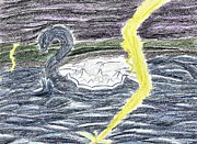 Lightening Drawings Prints - Sea Serpent Print by April McCallum