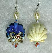 Beach Jewelry Originals - Sea Shell earrings- An exercise in asymmetrical design by Cheryl Brumfield Knox