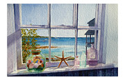 Beach Window Painting Framed Prints - Sea Side Framed Print by Karen Schneider