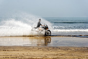 Two Wheeler Photo Framed Prints - Sea Spray Framed Print by Kantilal Patel
