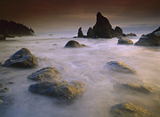 Time Stack Prints - Sea Stack And Rocks Along Shoreline Print by Tim Fitzharris