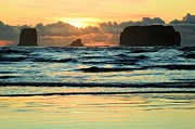 Olympic Peninsula Posters - Sea Stack Sunset Poster by Adam Jewell