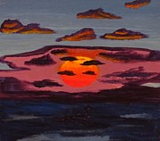 Red Sky Paintings - Sea Sunset by Tyler Martin
