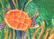 Green Sea Turtle Painting Metal Prints - Sea the Beauty Metal Print by Tracy L Teeter