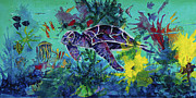Vivid Colors Painting Posters - Sea Turtle 2 Heading home Poster by Mary DuCharme