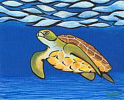 Surfing Paintings - Sea Turtle by Adam Johnson