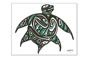 Northwest Drawings Prints - Sea Turtle green Print by Speakthunder Berry