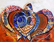 Swirls Paintings - Sea Turtle Love - Orange and White by J Vincent Scarpace