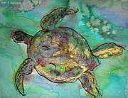 Caribbean Sea Mixed Media - Sea turtle by M C Sturman