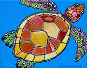 Caribbean Sea Painting Metal Prints - Sea Turtle Metal Print by Patti Schermerhorn