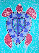 Reptiles Drawings Prints - Sea Turtle Peace Print by Nick Gustafson