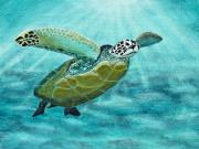 Sea Turtles Painting Metal Prints - Sea Turtle Metal Print by Richard Roselli