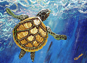 Sea Shell Art Mixed Media Prints - Sea Turtle Takes a Breath Print by Lisa Kramer