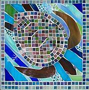 Ocean  Glass Art Originals - Sea Turtle Traveller by Marie Groves
