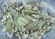 Sea Turtles Posters - Sea turtles mum and babe Poster by Liduine Bekman