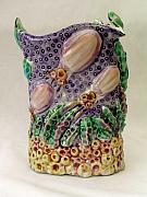 Hand-painted Ceramics Originals - Sea Ware Jug 4 by Renee Kilburn