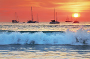 Nature Scene Originals - Sea waves at sunset by Teerapat Pattanasoponpong