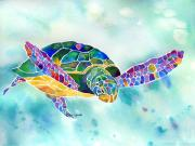 Watercolor Painting Acrylic Prints - Sea Weed Sea Turtle  Acrylic Print by Jo Lynch