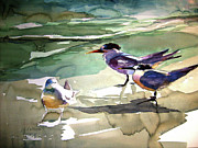 Framed Bird Prints Painting Prints - Seabirds  1  Print by Julianne Felton
