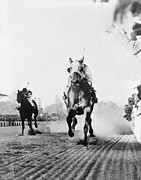Triple Crown Prints - Seabiscuit Acrossing The Finish Line Print by Everett