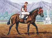 Kentucky Derby Painting Metal Prints - Seabiscuit at Santa Anita Metal Print by Thomas Allen Pauly