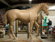 Bronze Sculptures - Seabiscuit bronze larger than life size horse sculpture by Kim Corpany