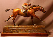 Bronze Sculpture Metal Prints - Seabiscuit Final Victory with Red Pollard bronze racehorse sculpture  Metal Print by Kim Corpany