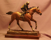Animals Sculptures - Seabiscuit statue - bronze statue of racehorse Seabiscuit and George Woolf by Kim Corpany and Stan Watts